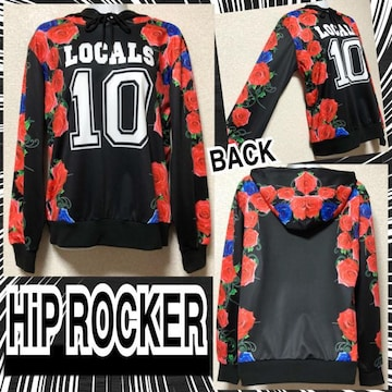 【新品/HiP ROCKER】薔薇&ナンバリングプリントフーディー
