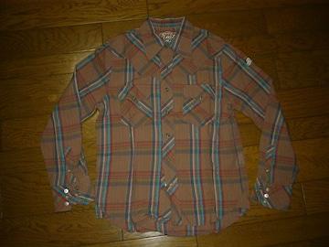 TMTラメチェックウエスタンシャツS薄手長袖