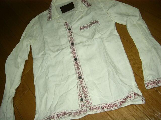 バックボーンBACKBONEチロリアンシャツM白ステッチ刺繍定価4万 < ブランドの