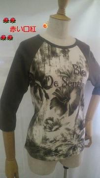 Mサイズ*bon bonanzaインド製七分袖・プリントTシャツカーキ