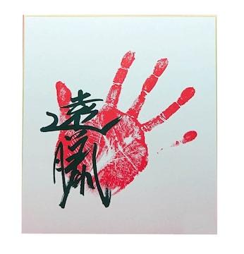 遠藤 手形・サイン入り 色紙