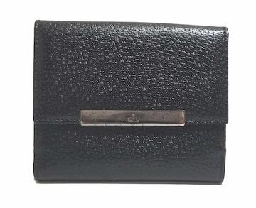 正規未使用グッチ財布二つ折りブラック黒レザー本革無地ロ