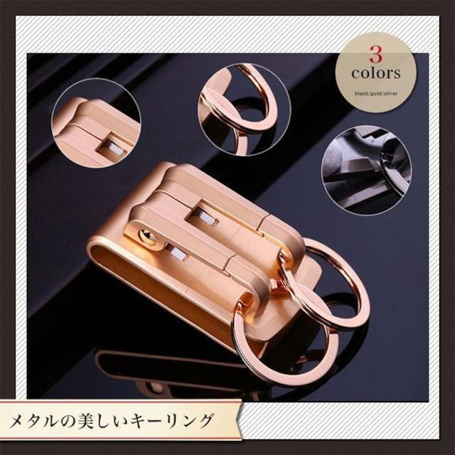 ¢M 高級感のあるデザイン ベルト用キーフックホルダー ゴールド < 男性ファッションの