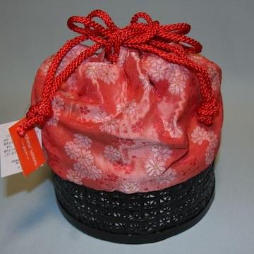 浴衣に♪とっても可愛い竹籠巾着★赤花竹かごバッグゆかた