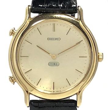 セイコー時計腕時計8M26-7060ゴールドGPレザーブレスヒ
