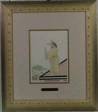 絵画 ポショワール 藤田嗣治 仁徳天皇・日本昔噺より《2》巨匠 真作