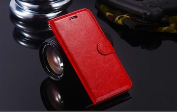 iPhone6 iPhone6S 手帳型ケース レザー フィルム レッド
