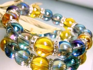 ゴールデンオーラ§ブルーオーラ12ミリ銀ロンデル数珠