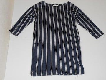 衣類 レディース Lサイズ 七分袖ワンピース ストライプ 紺