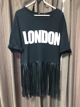 ZARAザラLONDONロゴ裾フリンジTシャツ