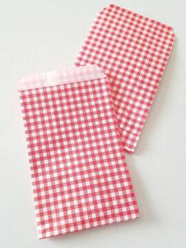 R100サイズ平袋★チェック赤20枚★小さい紙袋