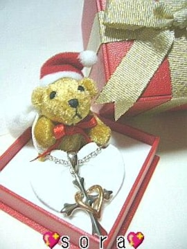 【プラチナ】クリスマス♪ハートネックレス&くまサンタBOX プレゼント用紙袋付