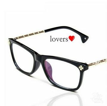 送料無料クリアブラック黒ゴールドクロス十字架めがねメガネ眼鏡