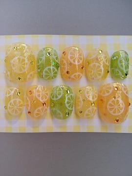 ジェルネイル.レモン&ライム&オレンジ.クリアカラー.ショート.hina
