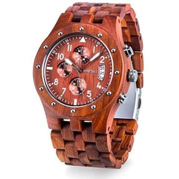 色赤檀 Bewell 腕時計 木製 メンズ クロノグラフ機能 ビーウェル