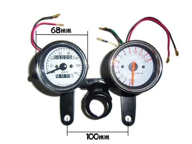 オマケLED付!電気式タコメーター&機械式スピードメーターセット < 自動車/バイク