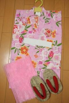 新品★子供浴衣3点セット★110cm/ピンクナデシコ毬/兵児帯下駄/七夕