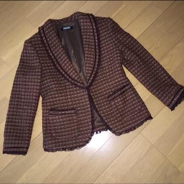 DKNY ツィードジャケット 茶 サイズ4 M