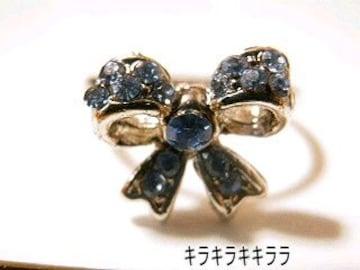 《New》ageha掲載★エタニティリボン・リング/指輪<ブルー>【箱付】