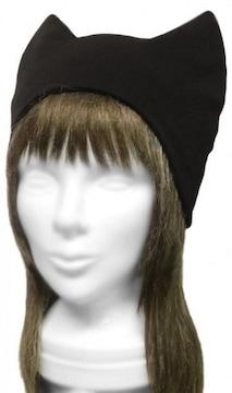 ハンドメイド◆シンプル 猫耳帽子◆コットンニット/ブラック