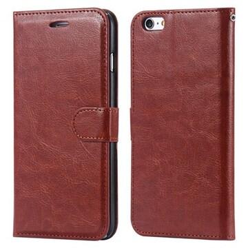 iPhone7/8Plus 手帳型収納レザーケース+強化保護フィルム 茶色