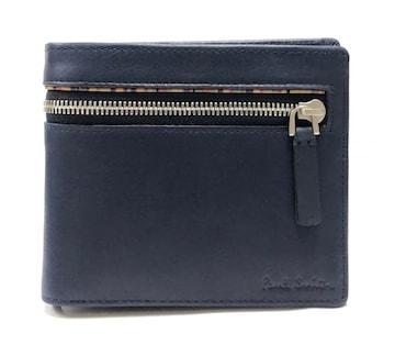 新品正規ポールスミス財布二つ折りネイビーストライプレサ