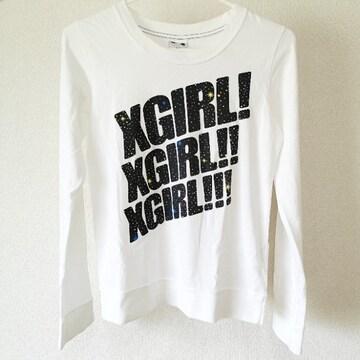 X-girl エックスガール ロゴ ロンT 白 ホワイト サイズ1
