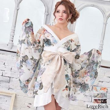 シフォン花柄 着物ドレス 和柄 ミニ 衣装 ダンス  チャムドレス