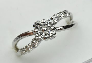 Pt900 合計 0.50ct ダイヤモンドリング 9号 指輪