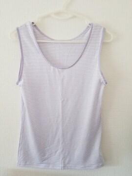 うすムラサキボーダー袖なしシャツ160