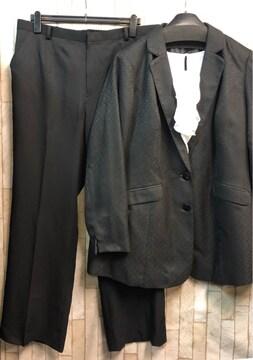 新品☆26号5Lトール♪黒系フォーマルパンツスーツ3点set☆n821