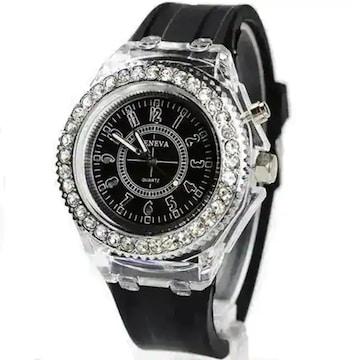 超お買得★790円★GenevaレインボーLED腕時計 黒動作保証