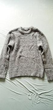 ★お洒落グレージュミックスふわモコ暖か長袖丸首ニットセーター