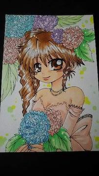 同人 手描きイラスト 自作イラスト 紫陽花の花嫁さん