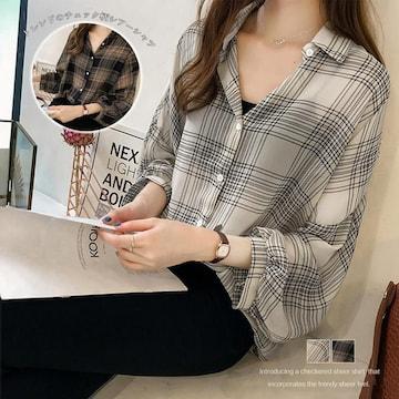 チェック柄シャツ 透け感 カーディガン 開襟 長袖シャツ