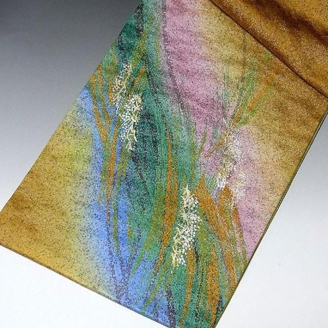 【袋帯】正絹 からし色ぼかし 鮮やかな色彩 < 女性ファッションの