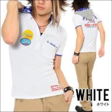 フード付フェイクレイヤード★ワッペン*SURFポロシャツホワイトM