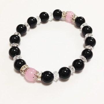 ピンク水晶&オニキス激安出品!レディースブレス