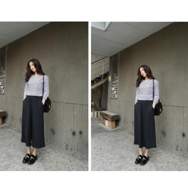 ガウチョパンツ シフォン素材 ウエストゴム 9分丈 ブラック < 女性ファッションの