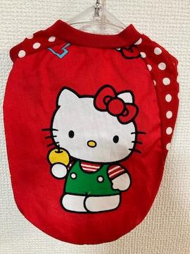 ★ハンドメイド キティ シャツ 赤 ドット 犬服 S★