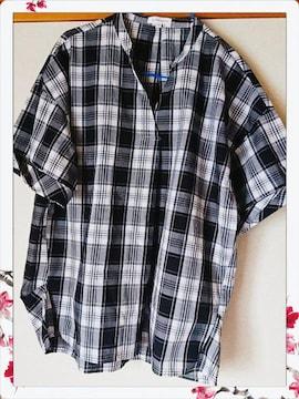 3can4on☆新品未使用☆半袖チェックシャツ