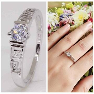 指輪18KRGPプラチナ高級CZ一粒リングyu1032e