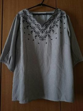 grove グローブ☆刺繍デザインプルオーバー★ピンストライプ☆ボリューム袖★