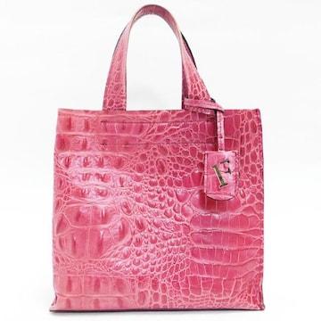 FURLAフルラ ハンドバッグ 型押しレザー ピンク系 良品 正規品