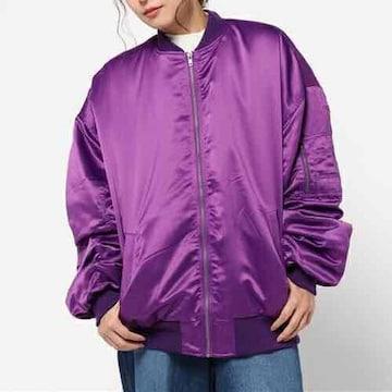 WEGO・男女兼用ビッグサイズ中綿MA-1ジャケット。パープル