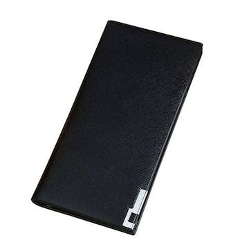 長財布 メンズ 人気 薄型 二つ折り シンプル ブラック