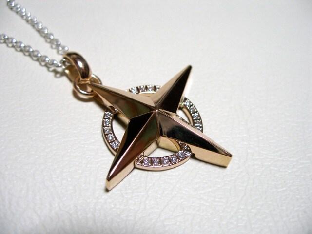 仁尾彫金『ピンクゴールドギャラクシー十字星ヘッド』45  < 女性アクセサリー/時計の