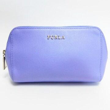 美品FURLA フルラ 化粧ポーチ レザー 薄紫系 良品 正規品