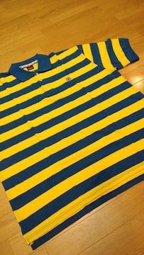 elementカノコボーダーポロシャツ 黄色青 ロゴ刺繍 XXL→3XL位 �F