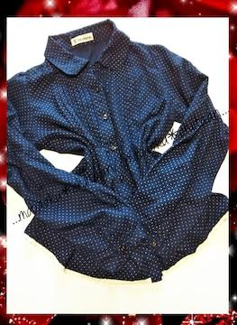 。*・◆ドット柄〃ネイビーシャツ〃丸襟◆・*。